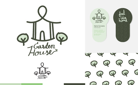 Vector : House garden logo with business card and pattern,Branding identity concept,Identity for cafe or restaurant.