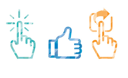 cursor: Click Like Share icon in blue color ,hand cursor and like thumb up and share icon .