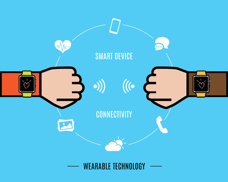 Vector : Two Hand with smart watch and smart watch function icon,Wearable Technology.