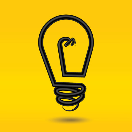 lightly: Vector - Light bulb on yellow background. Illustration