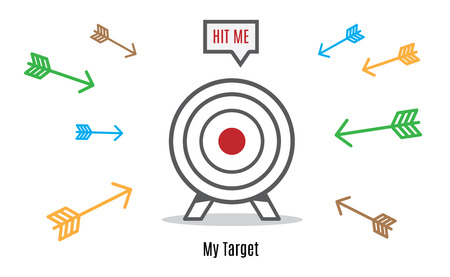 dart board: Vector : Many arrow rush to dart board, Business concept, Hit the target group. Illustration