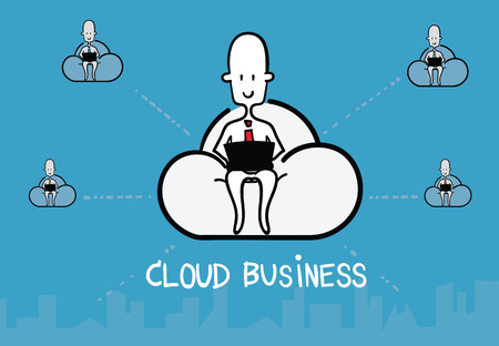 link work: Vector : Business man siting on cloud and work with computer and link with friend, Cloud Business concept.