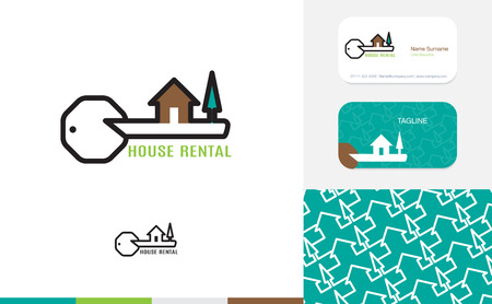 rent house: Vector : Set of House logo, business card and pattern for background,Branding identity design, real estate concept.