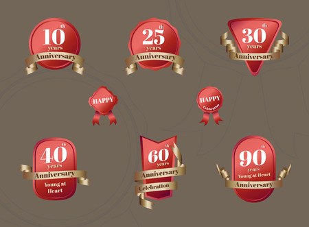 aniversary: Vector : Set of Aniversary Celebration badge in red and gold color,Design element for  Anniversary event.
