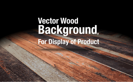 dark room: Vector : Plank wooden floor background Mock up for display of product