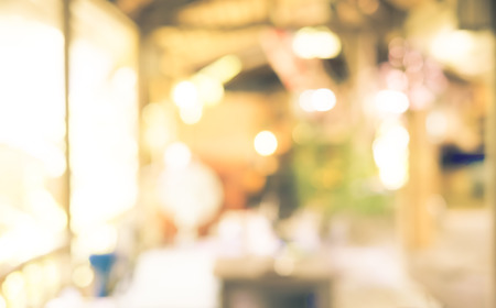 decoraton: Blurred background : Restaurant blur background with bokeh,Vintage filter. Stock Photo