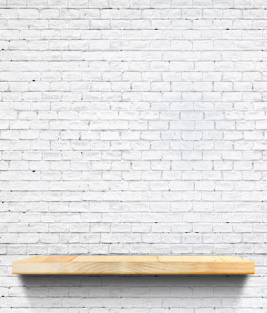 shelf: Empty Wooden shelf at white tile ceramic wall,Template mock up for display of product,business presentation.