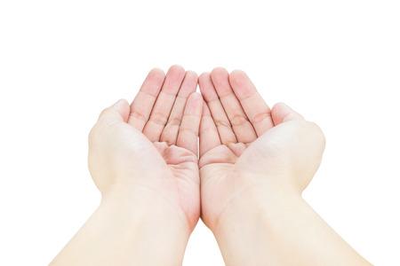 Open twee hand geïsoleerd op een witte achtergrond.