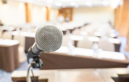 microphones: Close up microphone at seminar room. Stock Photo