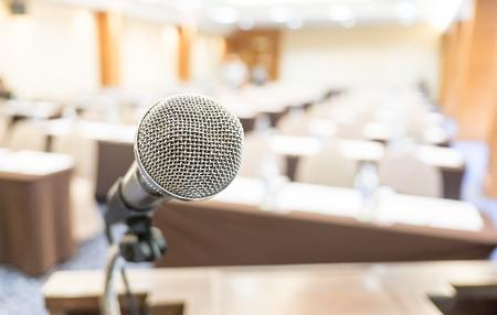 mics: Close up microphone at seminar room. Stock Photo