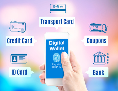 Hand holding mobile phone with digital wallet with finger print id and icon on blur background, Digital economy concept.