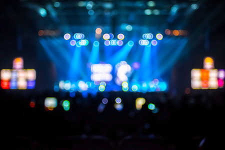 blurred background: Blurred background : Bokeh lighting in concert with audience ,Music showbiz concept.