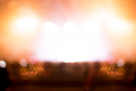 concert audience: Blurred background : Bokeh lighting in concert with audience ,Music showbiz concept.