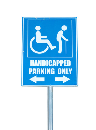 disabled parking sign: Handicapped parking only sign isolated on white background.