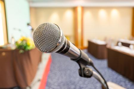 Close up microphone at seminar room. Stock Photo