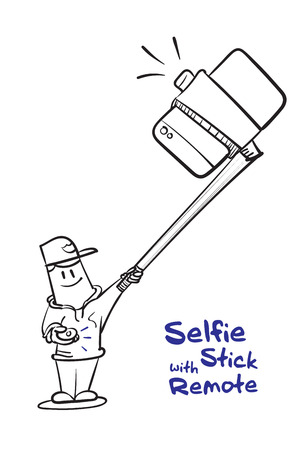 taking picture: Boy selfie with stick and click remote to shoot a photo,Social concept,Drawing black and white.