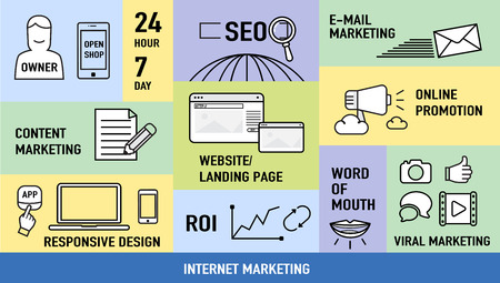 social web sites: Infographics of  Internet Marketing with Feature icon ,Digital business concept.