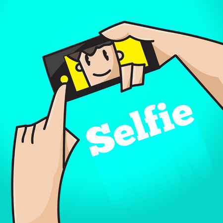 click button: Hand click button to selfie and smile at screen on green background. Illustration