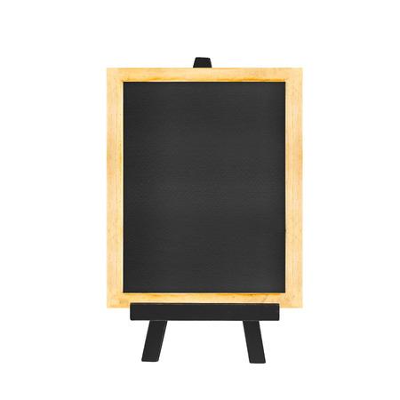 blank sign: Menu Blackboard on black easel isolated on white background.