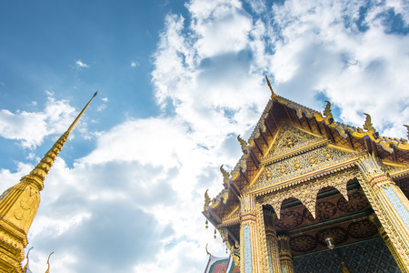 thailand art: Looking up at golden pagoda, Grand Palace, Bangkok, Thailand. Editorial