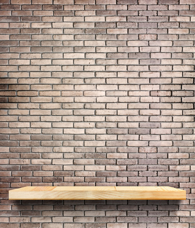 texture wall: Wooden shelf on regular light orange brick wall,Template mock up for display of product,Business presentation.