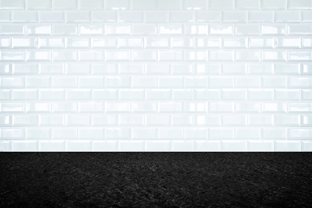 ceramica: Empty room with white ceramic tile wall and stone floor, Background for display of product. Foto de archivo