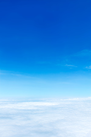 birds eye view: Aerial view of Blue sky and Cloud Top view from airplane window Stock Photo
