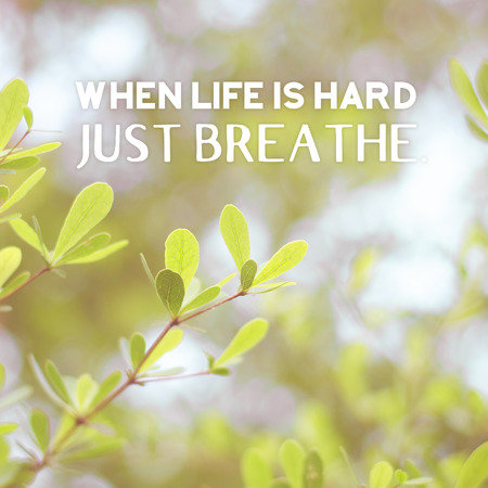 Inspiration quote :  When life is hard,just breathe on vintage filter green leaf background ,Motivational typographic.