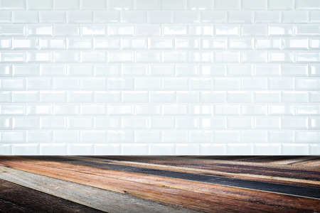 Room perspective,white ceramic tile wall and diagonal floor,background for display of product.