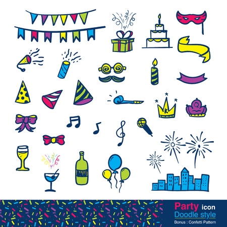 anniversary celebration: Vector : Set of party item in doodle style , include colorful confetti pattern.