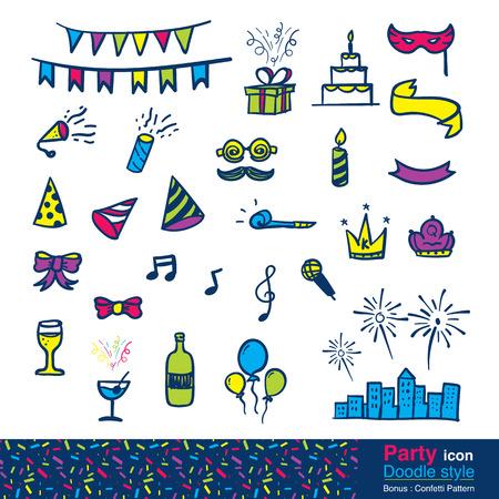 Vector: Conjunto de artículo del partido en el estilo de dibujo, incluye patrón de confeti de colores.