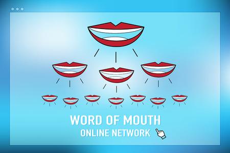 Vettore: parola di bocca rete on-line sullo schermo del browser a sfondo blu. Vettoriali