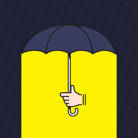 Vector : hand holding umbrella under rain with yellow light under umbrella, Creative in bad situation concept.