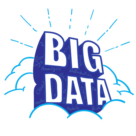 Vector : BIG DATA word on cloud with big data feature word inside blue shadow, Doodle style.