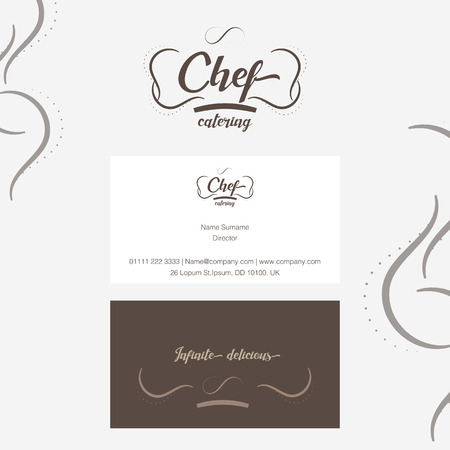 catering service: Vector : Chef catering Logo with business card in line ornament style.