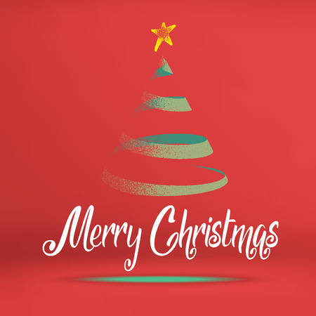 christmas room: Vector, Merry christmas word with green christmas tree on red studio room, Holiday concept.