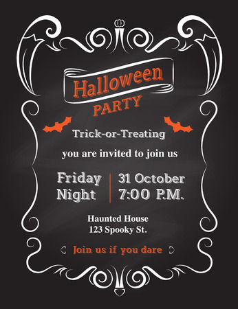 Vector : Halloween Invitation card to party with vintage ornament frame on black background. Illustration