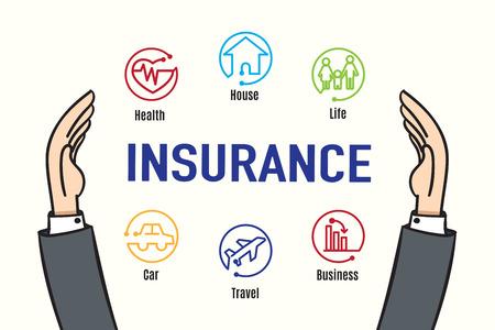 agent de sécurité: Vecteur: Main protéger assurance icône de la fonction, concept d'entreprise d'assurance. Illustration