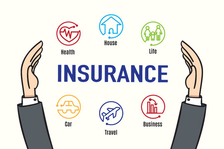 financial insurance: Vector : Hand protect Insurance feature icon,Insurance business concept. Illustration