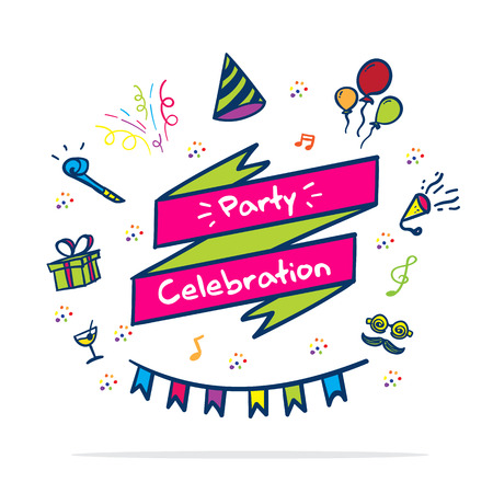 ベクトル: パーティーを祝う落書きスタイルでパーティー アイコンとバナー。  イラスト・ベクター素材