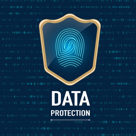 privacidad: Vector: Concepto de protección de datos, Oro escudo protege una huella digital (privacidad de datos) en el fondo de color azul marino.