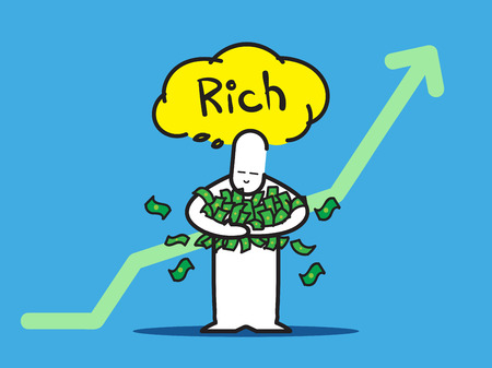 think up: Vector : Businessman hold a lot of money think of rich with up green arrow on blue background. Illustration