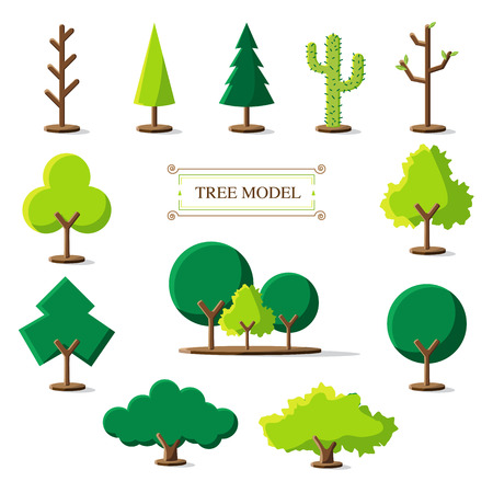 Vector : Set of Tree model icon on white background.