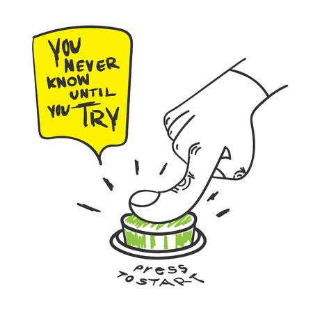 Vector: Citaat van de Motivatie, Je weet nooit totdat je woord te proberen met de hand druk op de startknop, Doodle stijl.