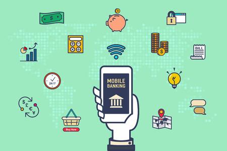 ベクトル: 手を携帯電話、緑の背景、インターネット銀行概念世界地図とアクティビティ アイコンを銀行で保持します。