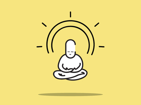 meditation man: Vector : Man meditation with circle aura on yellow background.