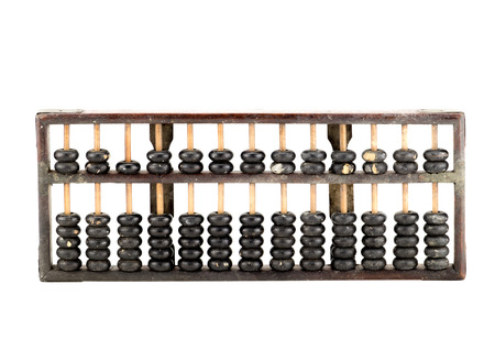 calculator chinese: Antique abacus isolated on white background.