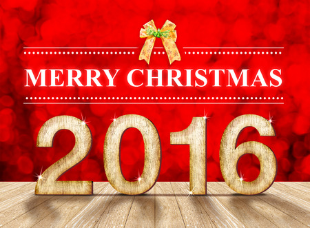 new year: Merry christmas 2016 in wood texture in perspective room with sparkling red bokeh wall and wooden plank floor.