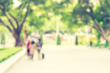 blur background, people in grenn park  with bokeh light. Stock Photo