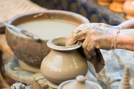 pottery: Hand making pottery on wheel ,Thai pottery style handmade.